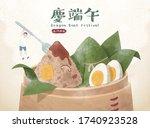 delicious zongzi in bamboo...   Shutterstock .eps vector #1740923528