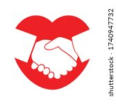 shaking hands in a red heart... | Shutterstock .eps vector #1740947732