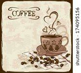 vintage hand drawn coffee... | Shutterstock .eps vector #174095156