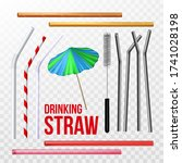 straw  brush and decorative... | Shutterstock .eps vector #1741028198