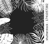tropical plant leaf frame... | Shutterstock .eps vector #1741057382