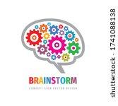 brainstorm gears logo template... | Shutterstock .eps vector #1741088138