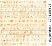 hieroglyphs pattern ancient ... | Shutterstock .eps vector #1741105628