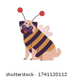 cute dog pug breed in bee... | Shutterstock .eps vector #1741120112