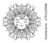 black and white ornamental sun... | Shutterstock .eps vector #1741120688