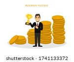 man holding gold cup near many... | Shutterstock .eps vector #1741133372