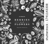 wild berries wreath on... | Shutterstock .eps vector #1741143308