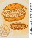 vector sketch of a hamburger on ... | Shutterstock .eps vector #1741150952