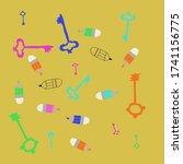 ornament of keys and pencils.... | Shutterstock . vector #1741156775