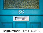 House Number 56 On A Blue...