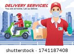 delivery service company with... | Shutterstock .eps vector #1741187408