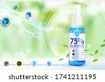 hand sanitizer spray 75 ... | Shutterstock .eps vector #1741211195