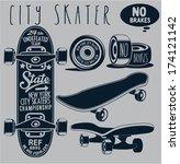 skateboard vector | Shutterstock .eps vector #174121142