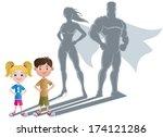 kids superhero concept 2 ... | Shutterstock .eps vector #174121286