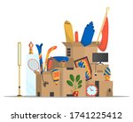 moving boxes. concept for home... | Shutterstock .eps vector #1741225412