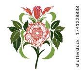 Wild Dog Rose Flowers. Rosehip...