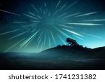 a large meteor shower on a... | Shutterstock . vector #1741231382