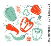 set with hand drawn colorful... | Shutterstock .eps vector #1741261325