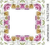 decorative floral frame. vector ... | Shutterstock .eps vector #1741271348