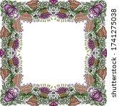 decorative floral frame. vector ... | Shutterstock .eps vector #1741275038
