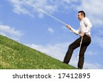business man pulling himself to ... | Shutterstock . vector #17412895
