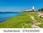 Small photo of Beautiful Lynde Point Lighthouse, Old Saybrook, Connecticut, USA