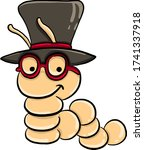 Catepillar with glasses , illustration, vector on white background