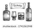 whiskey set. ink sketch... | Shutterstock .eps vector #1741361948
