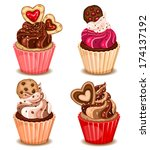 valentine cupcakes with cookies | Shutterstock .eps vector #174137192