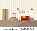 living room interior with...   Shutterstock .eps vector #1741392665