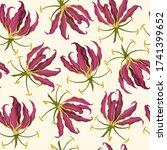 tropical flowers seamless...   Shutterstock .eps vector #1741399652