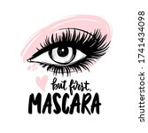 beautiful eye with long black...   Shutterstock .eps vector #1741434098