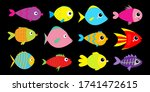 fish icon set. cute cartoon...   Shutterstock . vector #1741472615