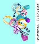 multicolored decorative circles.... | Shutterstock .eps vector #1741491155