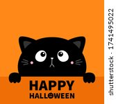 hapy halloween. cat kitten... | Shutterstock .eps vector #1741495022