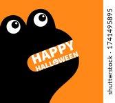 happy halloween. monster black...   Shutterstock .eps vector #1741495895