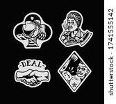 jp tattoo flash set ... | Shutterstock .eps vector #1741555142