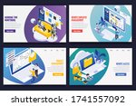 remote work management concept... | Shutterstock .eps vector #1741557092