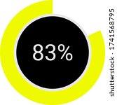 yellow and black 83 circle pie...