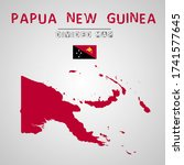 detailed map of papua new...   Shutterstock .eps vector #1741577645