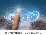 hand pointing against rocky... | Shutterstock . vector #174161942