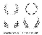 flowers branches and leaves... | Shutterstock .eps vector #1741641005