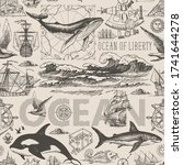 vector vintage seamless pattern ... | Shutterstock .eps vector #1741644278