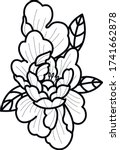 peony black and white flower... | Shutterstock .eps vector #1741662878