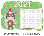 calendar 2021. the bull is a... | Shutterstock .eps vector #1741665692