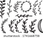 hand drawn leaf set isolated... | Shutterstock .eps vector #1741668758