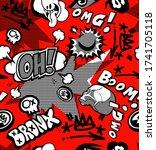 comics print with skulls  fonts | Shutterstock .eps vector #1741705118