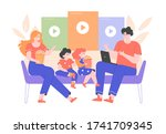 family is sitting on the couch... | Shutterstock .eps vector #1741709345