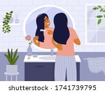 daily morning routine. cute... | Shutterstock .eps vector #1741739795