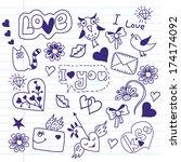 valentine's elements. sketchy... | Shutterstock .eps vector #174174092
